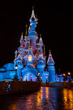 Disneyland Paris Castle at night with Christmas decorations Royalty Free Stock Photography