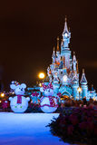 Disneyland Paris Castle at night with Christmas decorations Stock Image