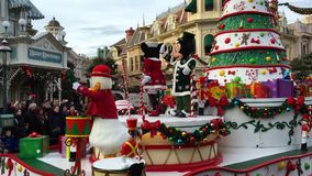 DISNEYLAND, PARIS, FRANCE - December 30, 2016. The street parade Disney characters come out to greet awaiting fans. DISNEYLAND, PARIS, FRANCE - December 30, 2016 stock video footage