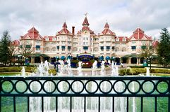 Disneyland Paris main hotel. Main entrance of Disneyland Paris attraction park stock images