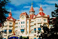Disneyland Paris main hotel. Main entrance of Disneyland Paris attraction park stock photo