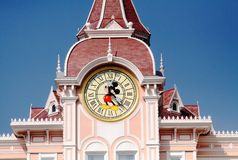 DISNEYLAND PARIS. Mickey Mouse clock Disneyland entrance stock image