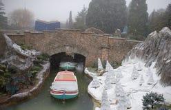 Disneyland Paryż w ciężkim śniegu Fotografia Stock