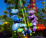 Disneyland Pixar Parade Bugs Life. Pixar animated characters from Bugs Life are featured in Disneyland Parade Stock Photo