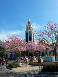 Disneyland's California Adventure with Carthay Circle. Springtime view inside Disneyland's California Adventure park in Anaheim, California.  Fountain and Stock Photo