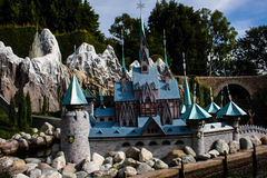 Disneyland's Casey Jr. Circus Train Frozen castle. The castle from the animated Disney film, Frozen as seen from the Casey Jr. ride in Fantasyland in Disneyland Royalty Free Stock Photo