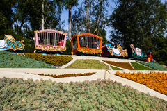 Disneyland's Casey Jr. Circus Train. Casey Jr. ride in Fantasyland in Disneyland, California, is chugging along on its track. Built in 1955, this train rides Royalty Free Stock Images