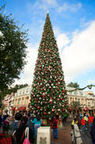 Disneyland's Christmas Tree. Christmas tree at the entrance of Disneyland. It is the welcome message to the visitors Stock Photo