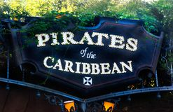 Disneyland Sign Pirates of the Caribbean. Sign at Disneyland, California famous ride Pirates of the Caribbean stock images
