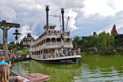 Disneyland Steamboat. Disneyland Paris, Steamboat on artificial river in Disneyland royalty free stock photography