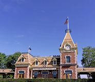 Disneyland Train Station. On a beautiful day in Anaheim California The original Disneyland train station against a bright blue sky. Celebrating its 60th Stock Photo