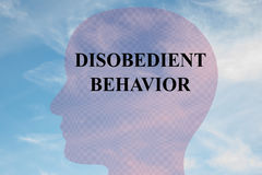 Disobedient Behavior - behavioral concept. Render illustration of DISOBEDIENT BEHAVIOR title on head silhouette, with cloudy sky as a background Stock Image
