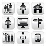 Disoccupazione, bottoni di vettore di ricerche di lavoro messi Fotografie Stock Libere da Diritti