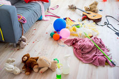 Disorder mess at home. Created by playing children Royalty Free Stock Images