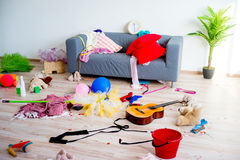 Disorder mess at home. Created by playing children Royalty Free Stock Photo