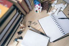 Disorder and mess on the student`s desk during the New Year holidays Royalty Free Stock Photos