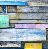 Disorder Tropical wooden wall,wooden paint with color Royalty Free Stock Images