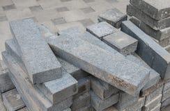 Gray long pavement bricks Stock Images