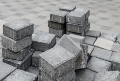 Gray square pavement bricks in a stockpile Royalty Free Stock Image