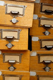 Disorderly group of old wooden drawers Royalty Free Stock Image