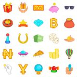 Disorderly House Icons Set, Cartoon Style Royalty Free Stock Images
