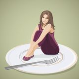 Disorders of diet. Sad girl is sitting on the big plate. Concept of disorders of diet Royalty Free Stock Photography