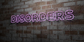 DISORDERS - Glowing Neon Sign on stonework wall - 3D rendered royalty free stock illustration Stock Photos