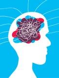 Disordine capo con i lotti dei pensieri che entrano nella sua mente illustrazione vettoriale