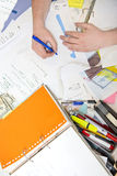 Disorganised desk Stock Images