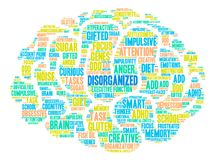 Disorganized Word Cloud. Disorganized ADHD word cloud on a white background Royalty Free Stock Photography