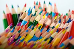 Disorganized Colouring Pencils. Disorganized coloring pencils photographed against a white background Royalty Free Stock Images