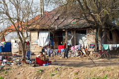 Disorganized gipsy house & backyard in Romania. Picture of a messy and disorganized gipsy house & backyard in Transylvania, Romania Stock Photos