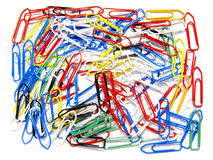 Disorganized multicolored paperclips Stock Images