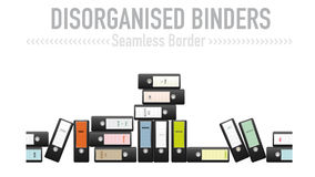Disorganized ring binders seamless vector border. Seamless border from disorganized black binders with a variety of labels. Lettering on separate layer. AI10 eps Royalty Free Stock Image