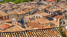 Disorganized Rooftops. Of the Medieval Village of Sommiers France from the tower of the old fortress Stock Images