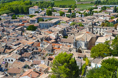 Disorganized Rooftops. Rooftops of Sommieres from the tower of the medieval fortress over the village royalty free stock image