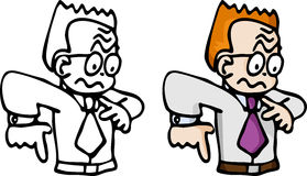 Disorientated Businssman. Cartoon of a jittery red-haired business man in B&W and color Royalty Free Stock Photo