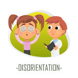 Disorientation medical concept. Vector illustration. Doctor and patient are talking in the hospital. Isolated on white background Royalty Free Stock Photo