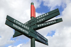 Disoriented and Confused Signpost. Against cloudy sky - clipping path for isolated the panels Stock Photos