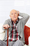 Disoriented demented senior man. Disoriented demented old senior citizen man trying to remember Stock Image