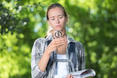 Disoriented hiking girl feeling lost. Lost Stock Photography
