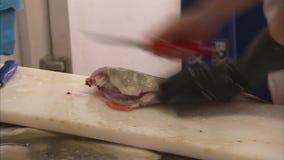 Disossamento del pesce fresco stock footage