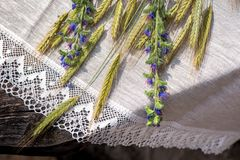 Disparado da toalha de mesa e dos guardanapo de linho com laço apare Foto de Stock