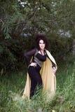 Disparado de uma mulher da bruxa em uma floresta escura Foto de Stock