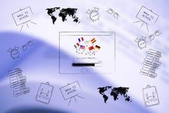 Disparaissent l'étude à l'étranger automatique avec des drapeaux de pays et des articles d'école tout l'a images libres de droits