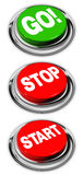 Disparaissent, l'arrêt et les boutons marche Images libres de droits