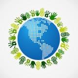 Disparaissent la carte humaine d'Américain de main de diversité verte Photographie stock