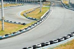 Disparaissent la voie de course de kart. Photographie stock