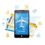 Disparaissent le concept mobile de réservation de billet de voyage Vecteur illustration libre de droits