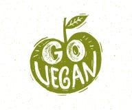 Disparaissent le slogan de vegan Lettrage de main sous forme de pomme verte illustration de vecteur